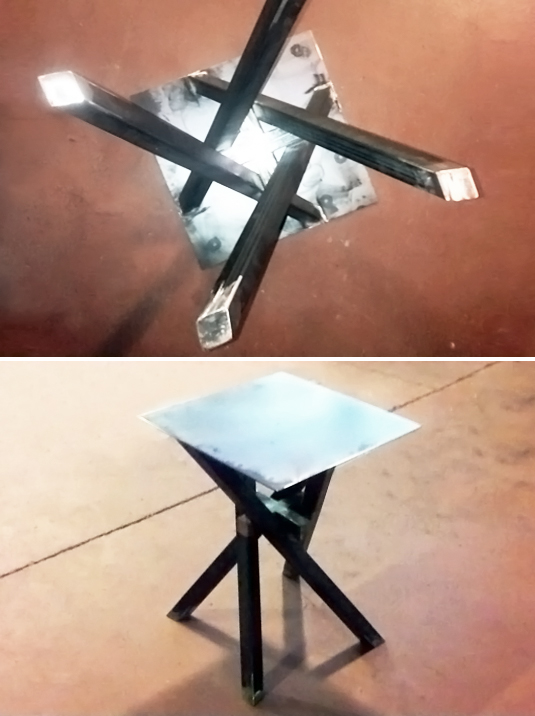 gambe incrociate in ferro per tavolo interior design fabbro